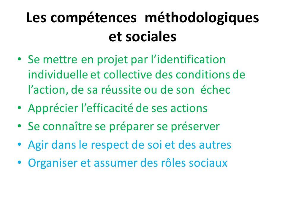 Les compétences méthodologiques et sociales Se mettre en projet par lidentification individuelle et collective des conditions de laction, de sa réussi