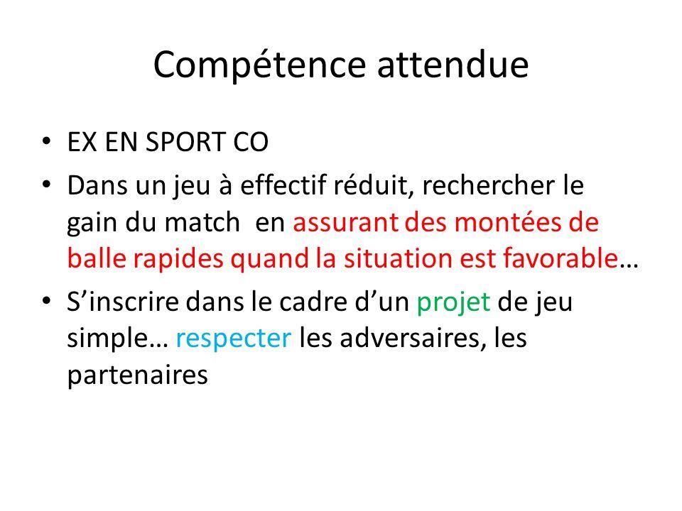 Compétence attendue EX EN SPORT CO Dans un jeu à effectif réduit, rechercher le gain du match en assurant des montées de balle rapides quand la situat