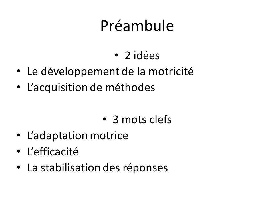 Préambule 2 idées Le développement de la motricité Lacquisition de méthodes 3 mots clefs Ladaptation motrice Lefficacité La stabilisation des réponses