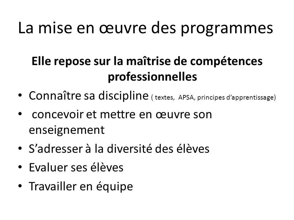 La mise en œuvre des programmes Elle repose sur la maîtrise de compétences professionnelles Connaître sa discipline ( textes, APSA, principes dapprent