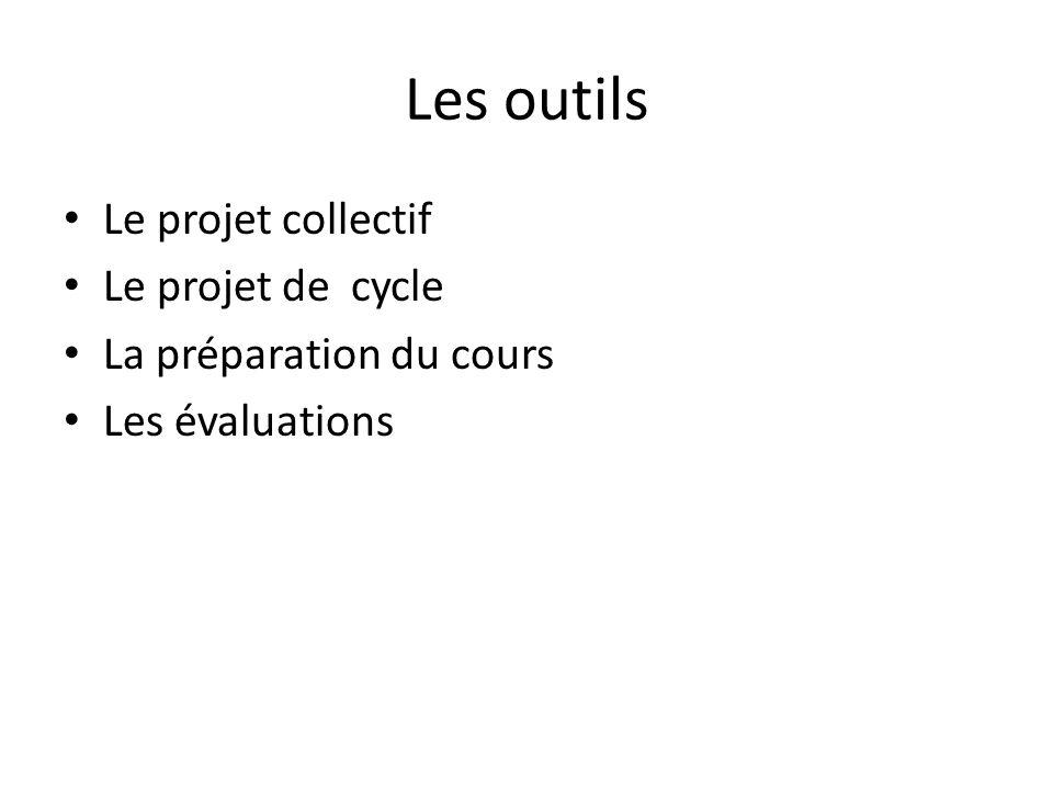 Les outils Le projet collectif Le projet de cycle La préparation du cours Les évaluations
