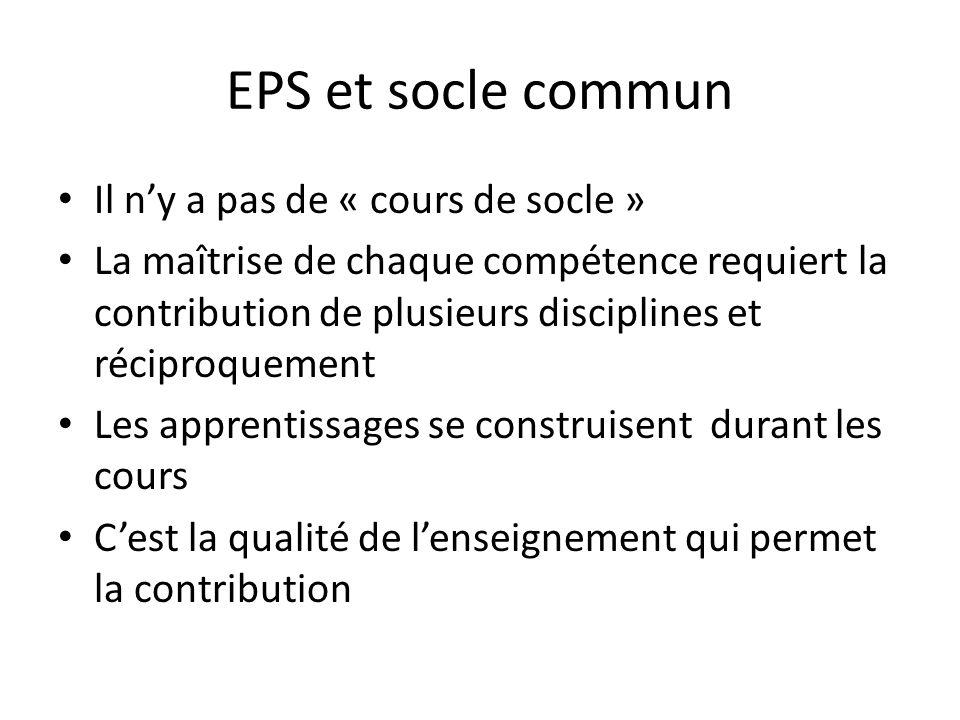 EPS et socle commun Il ny a pas de « cours de socle » La maîtrise de chaque compétence requiert la contribution de plusieurs disciplines et réciproque