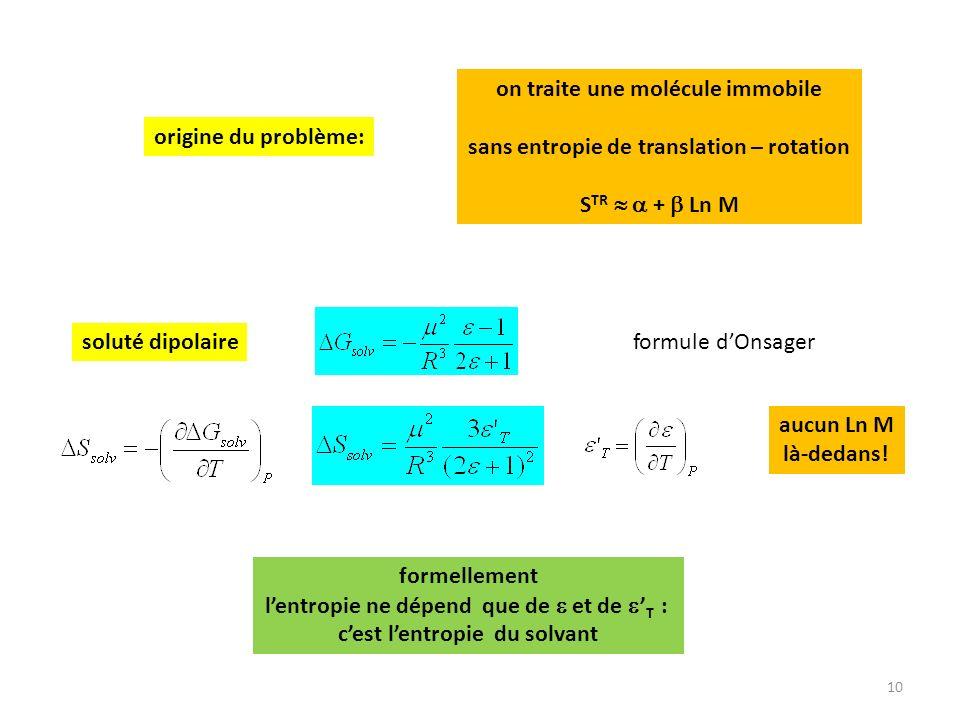 10 origine du problème: on traite une molécule immobile sans entropie de translation – rotation S TR + Ln M soluté dipolaire formellement lentropie ne dépend que de et de T : cest lentropie du solvant aucun Ln M là-dedans.