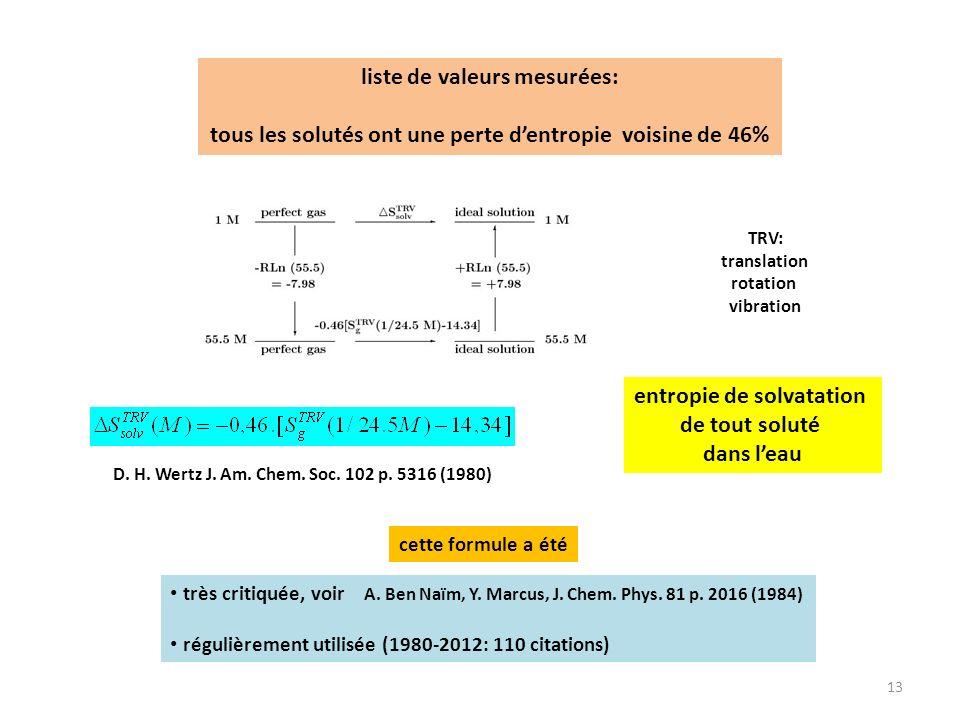 13 entropie de solvatation de tout soluté dans leau très critiquée, voir A. Ben Naïm, Y. Marcus, J. Chem. Phys. 81 p. 2016 (1984) régulièrement utilis