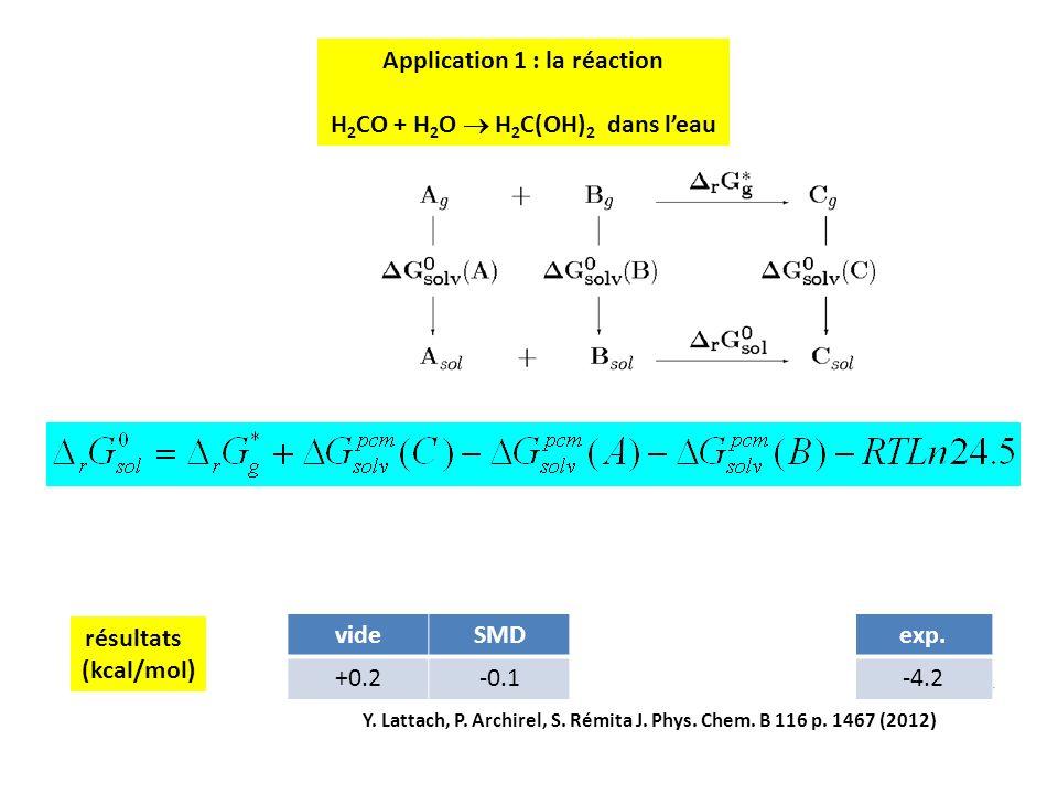 14 résultats (kcal/mol) videSMDmodif TRVmodif TRexp. +0.2-0.1-4.4-4.0-4.2 Y. Lattach, P. Archirel, S. Rémita J. Phys. Chem. B 116 p. 1467 (2012) Appli