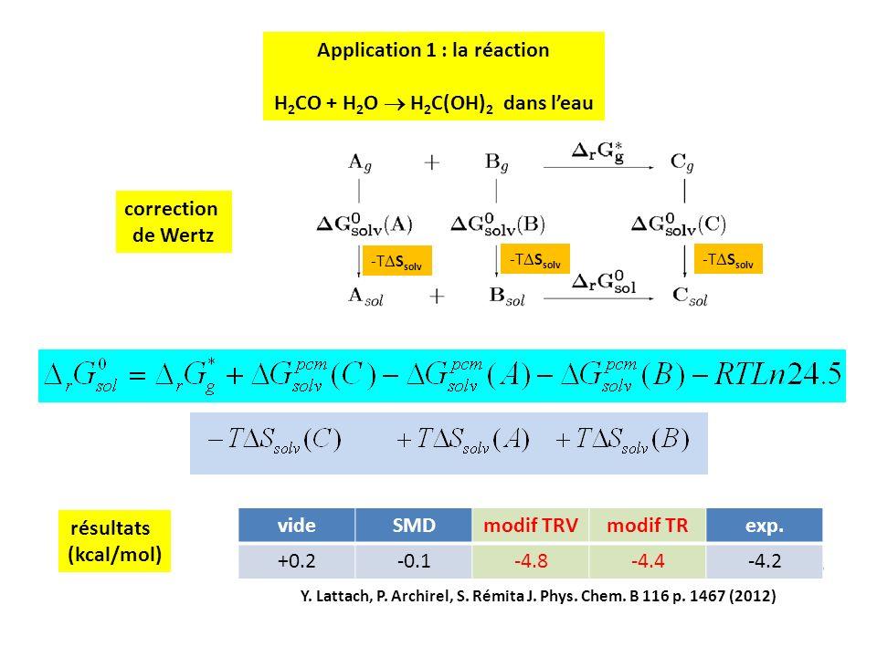 15 correction de Wertz -T S solv résultats (kcal/mol) videSMDmodif TRVmodif TRexp. +0.2-0.1-4.8-4.4-4.2 Y. Lattach, P. Archirel, S. Rémita J. Phys. Ch