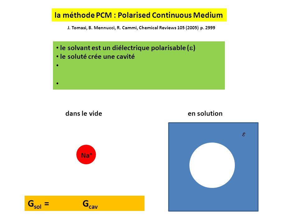 le solvant est un diélectrique polarisable ( ) le soluté crée une cavité J. Tomasi, B. Mennucci, R. Cammi, Chemical Reviews 105 (2005) p. 2999 Na + G