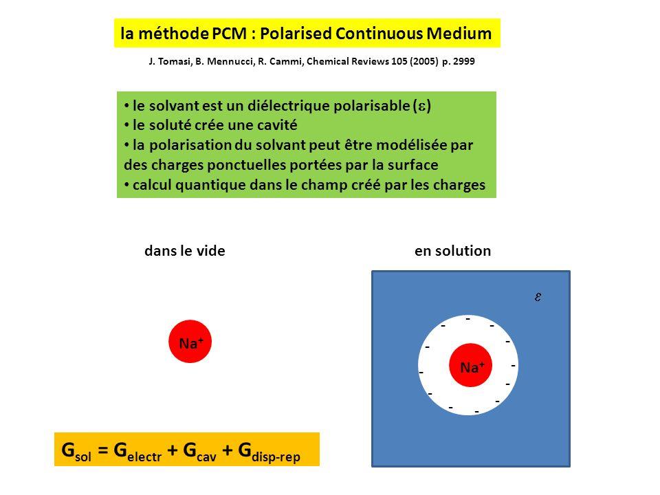 le solvant est un diélectrique polarisable ( ) le soluté crée une cavité la polarisation du solvant peut être modélisée par des charges ponctuelles portées par la surface calcul quantique dans le champ créé par les charges - - - - -- - - - J.