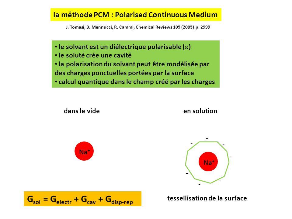 7 soluté complexe : la cavité est une réunion de cavités atomiques tessellisées les rayons atomiques sont des paramètres optimisés pour reproduire au mieux les G solv dune liste de molécules (SMD de gaussian 09)