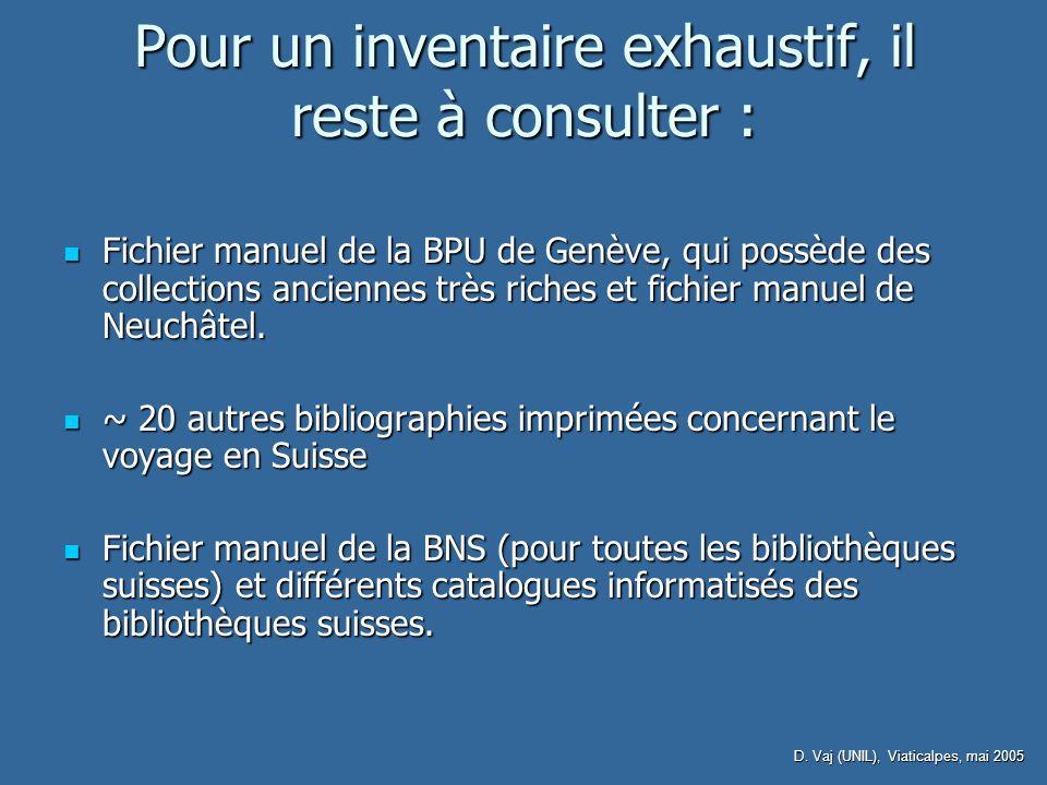 D. Vaj (UNIL), Viaticalpes, mai 2005 Pour un inventaire exhaustif, il reste à consulter : Fichier manuel de la BPU de Genève, qui possède des collecti