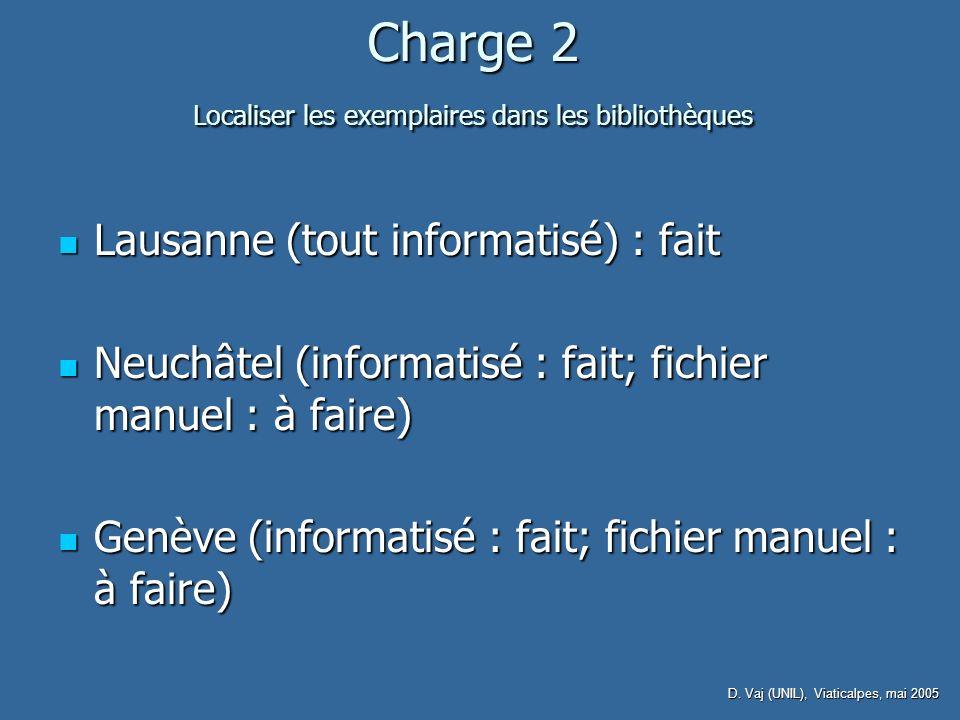 D. Vaj (UNIL), Viaticalpes, mai 2005 Charge 2 Localiser les exemplaires dans les bibliothèques Lausanne (tout informatisé) : fait Lausanne (tout infor