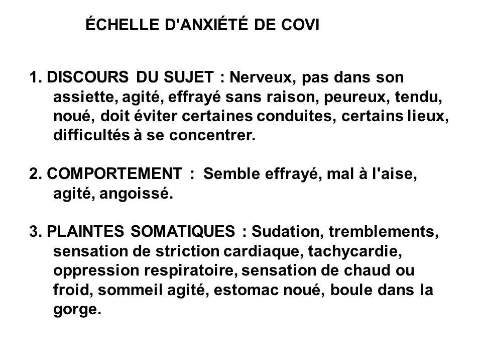 ÉCHELLE D'ANXIÉTÉ DE COVI 1. DISCOURS DU SUJET : Nerveux, pas dans son assiette, agité, effrayé sans raison, peureux, tendu, noué, doit éviter certain