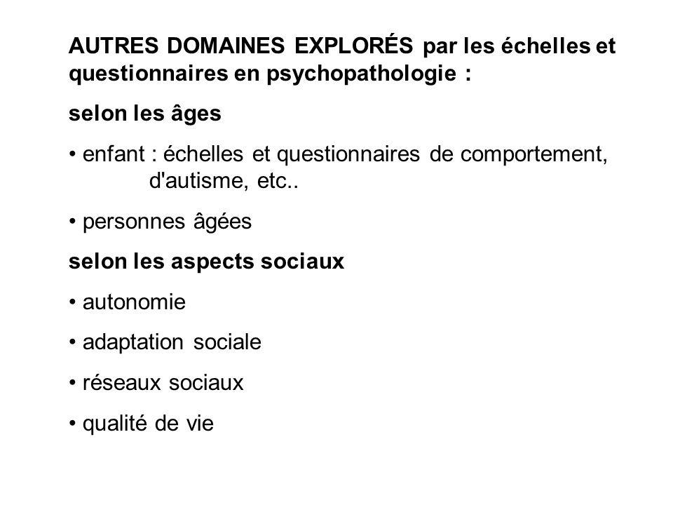 AUTRES DOMAINES EXPLORÉS par les échelles et questionnaires en psychopathologie : selon les âges enfant : échelles et questionnaires de comportement,