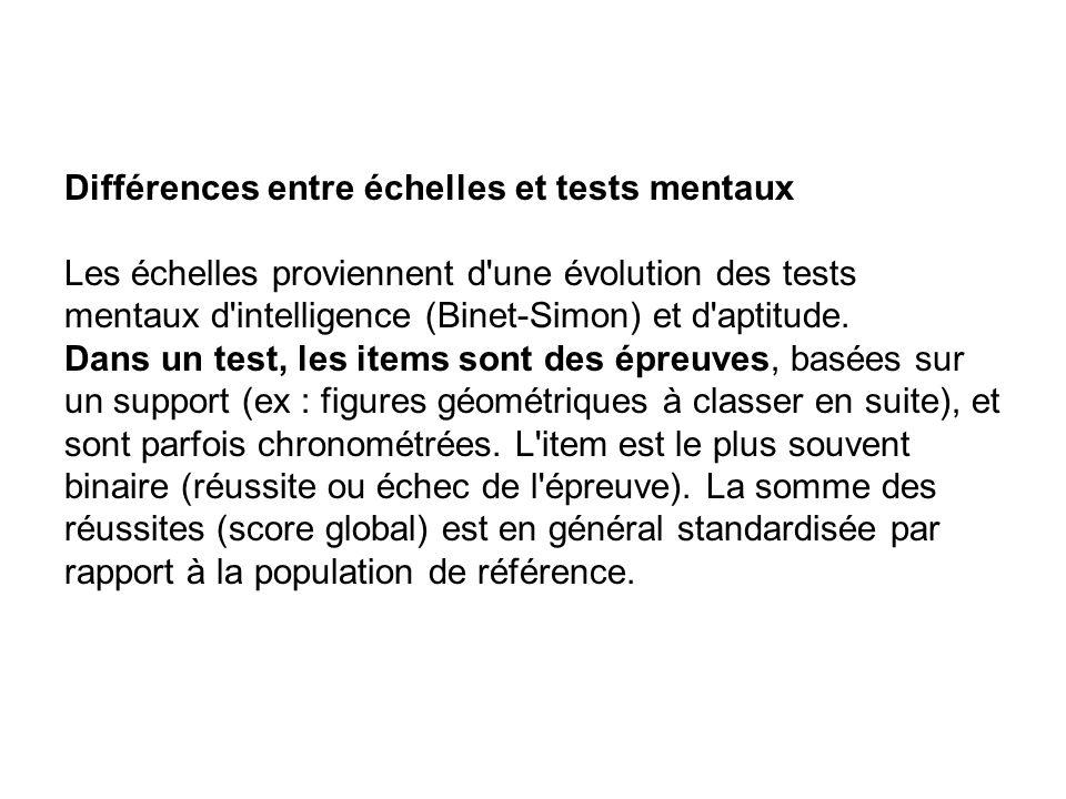 Différences entre échelles et tests mentaux Les échelles proviennent d'une évolution des tests mentaux d'intelligence (Binet-Simon) et d'aptitude. Dan