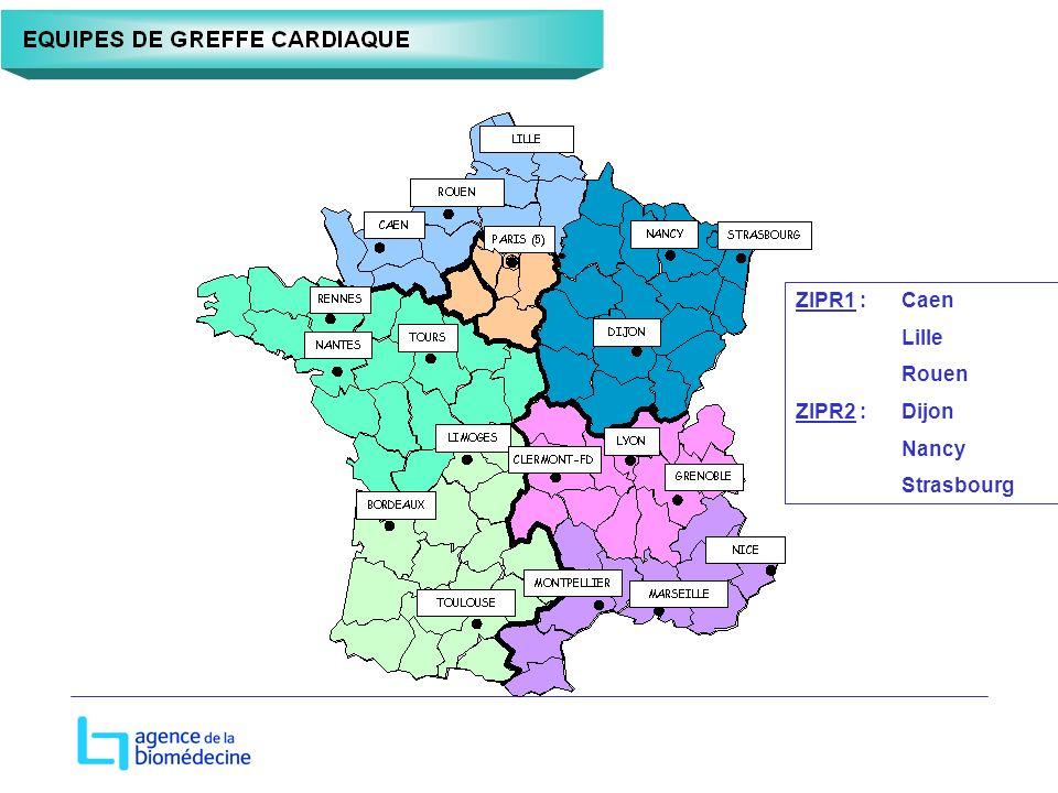 ZIPR1 :Caen Lille Rouen ZIPR2 : Dijon Nancy Strasbourg