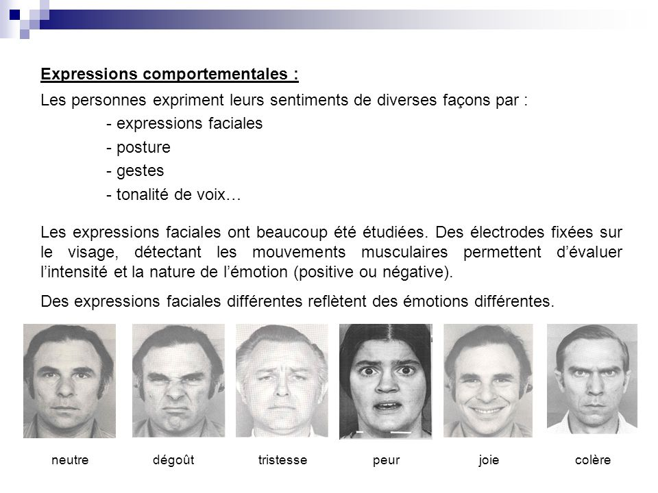 Expressions comportementales : Les personnes expriment leurs sentiments de diverses façons par : - expressions faciales - posture - gestes - tonalité