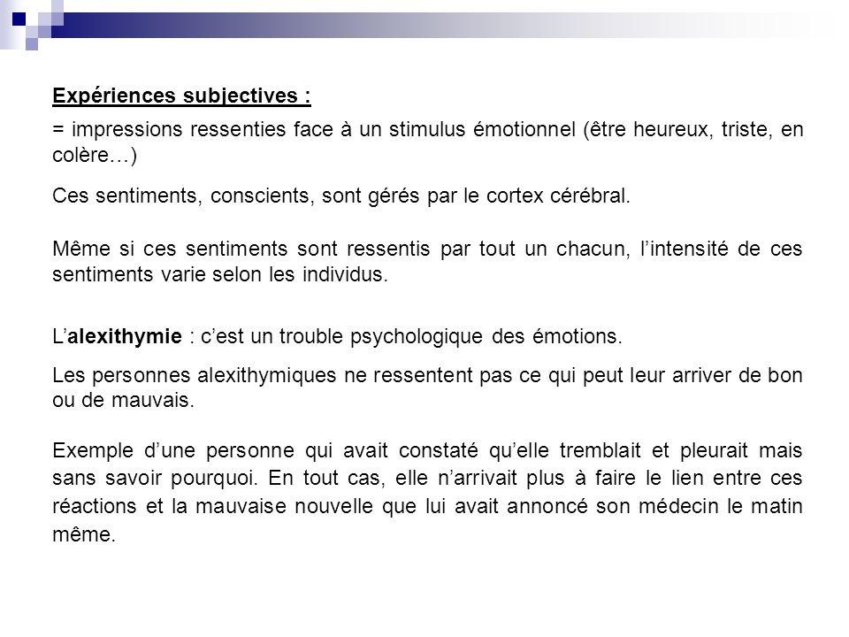 Expériences subjectives : = impressions ressenties face à un stimulus émotionnel (être heureux, triste, en colère…) Même si ces sentiments sont ressen