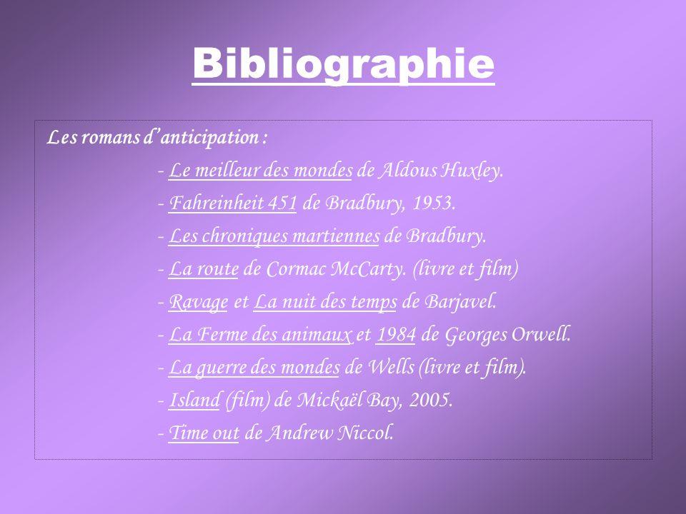 Bibliographie Les romans danticipation : - Le meilleur des mondes de Aldous Huxley. - Fahreinheit 451 de Bradbury, 1953. - Les chroniques martiennes d
