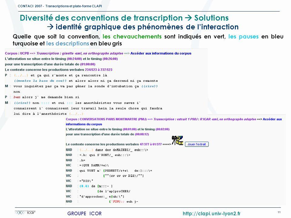 CONTACI 2007 - Transcriptions et plate-forme CLAPI 11 GROUPE ICOR http://clapi.univ-lyon2.fr Diversité des conventions de transcription Solutions iden
