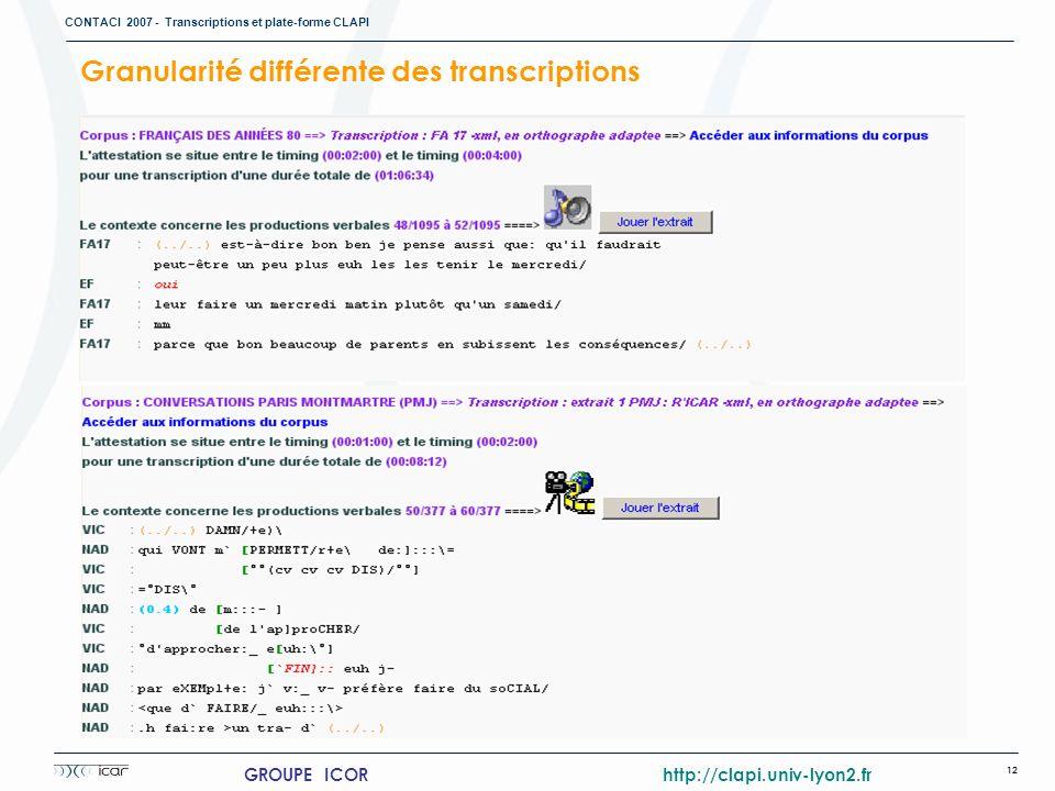 CONTACI 2007 - Transcriptions et plate-forme CLAPI 12 GROUPE ICOR http://clapi.univ-lyon2.fr Granularité différente des transcriptions