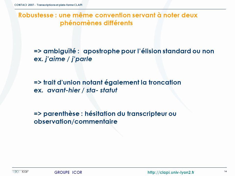 CONTACI 2007 - Transcriptions et plate-forme CLAPI 14 GROUPE ICOR http://clapi.univ-lyon2.fr => ambiguïté : apostrophe pour lélision standard ou non e