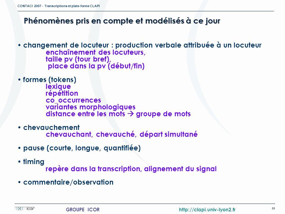 CONTACI 2007 - Transcriptions et plate-forme CLAPI 23 GROUPE ICOR http://clapi.univ-lyon2.fr Phénomènes pris en compte et modélisés à ce jour changeme