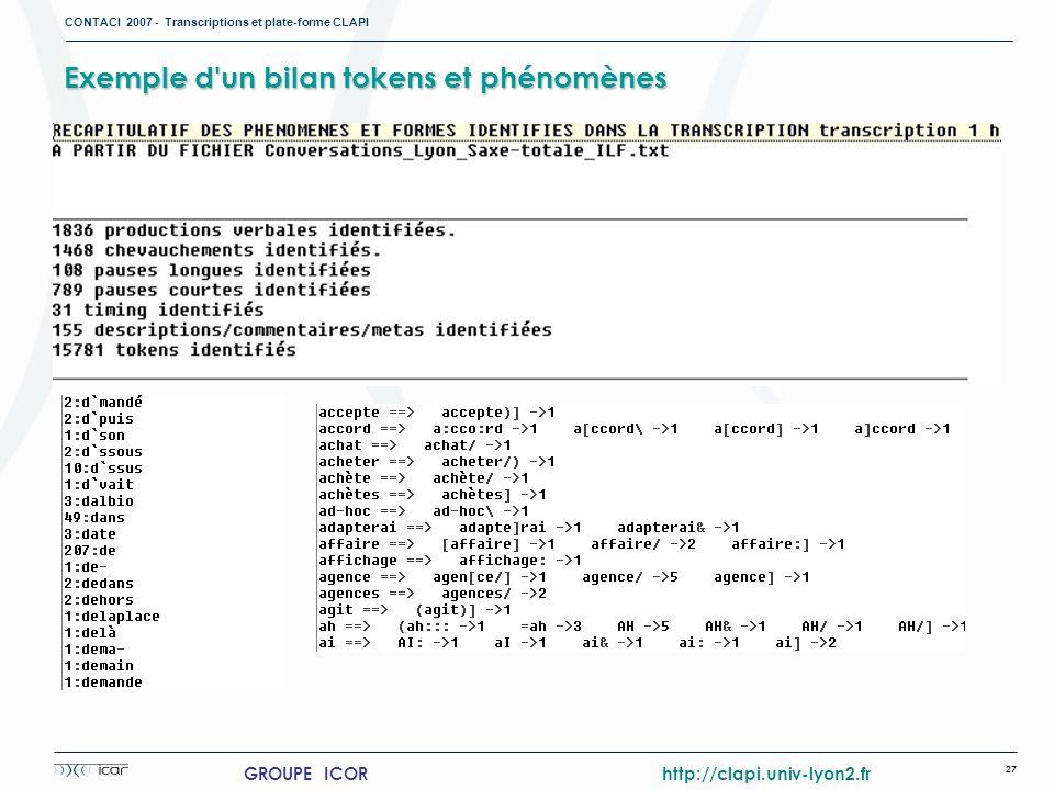 CONTACI 2007 - Transcriptions et plate-forme CLAPI 27 GROUPE ICOR http://clapi.univ-lyon2.fr Exemple d'un bilan tokens et phénomènes