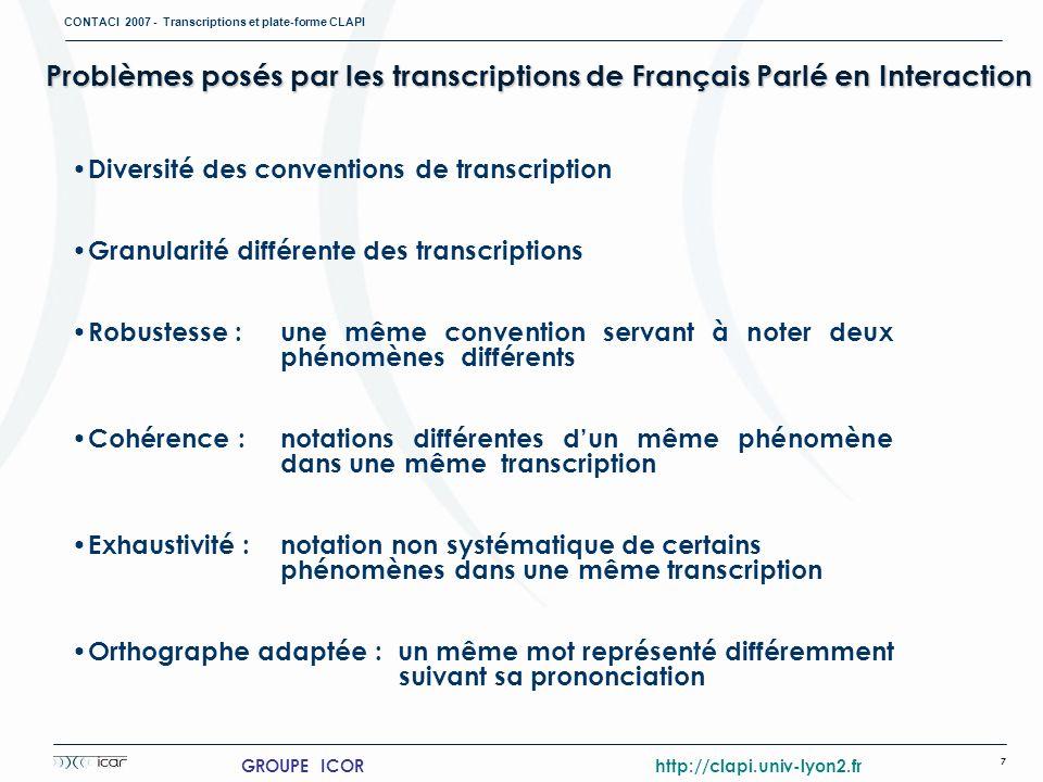 CONTACI 2007 - Transcriptions et plate-forme CLAPI 7 GROUPE ICOR http://clapi.univ-lyon2.fr Problèmes posés par les transcriptions de Français Parlé e