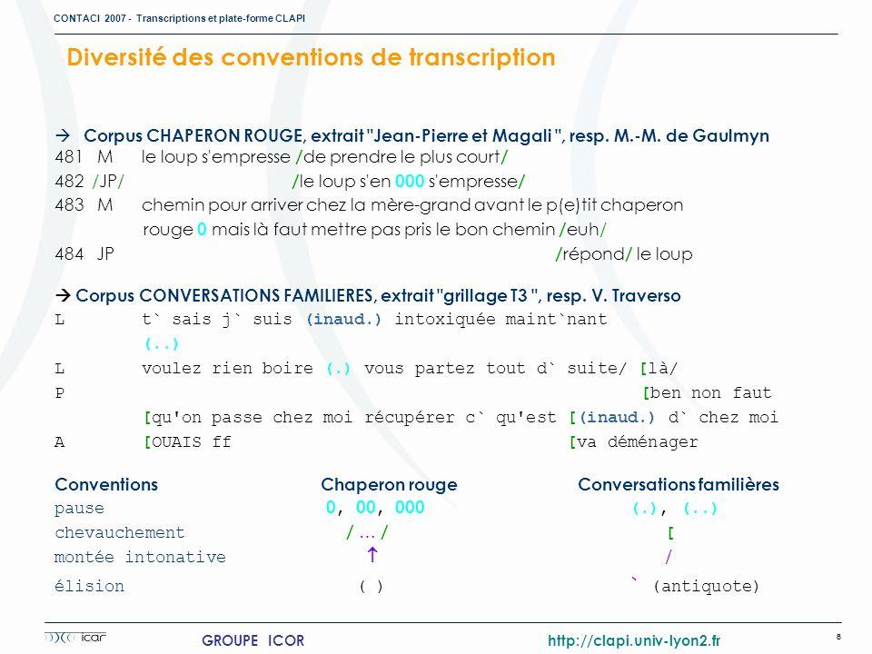 CONTACI 2007 - Transcriptions et plate-forme CLAPI 8 GROUPE ICOR http://clapi.univ-lyon2.fr Corpus CHAPERON ROUGE, extrait