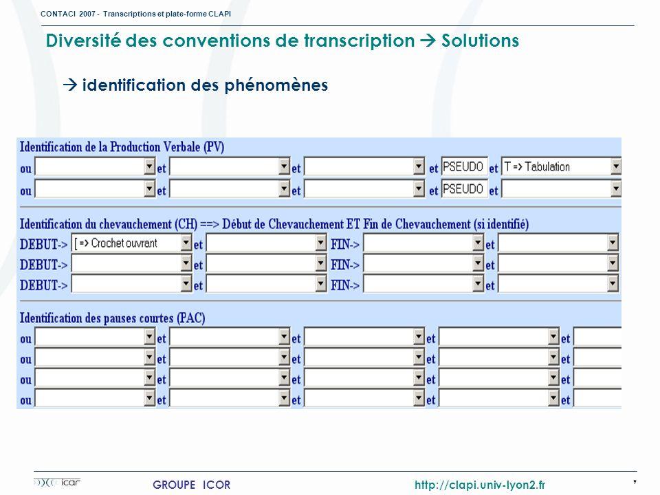 CONTACI 2007 - Transcriptions et plate-forme CLAPI 9 GROUPE ICOR http://clapi.univ-lyon2.fr Diversité des conventions de transcription Solutions ident