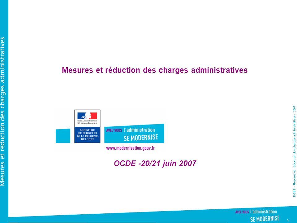 DGME – Mesures et réduction des charges administratives - 2007 Mesures et réduction des charges administratives 1 Mesures et réduction des charges administratives OCDE -20/21 juin 2007
