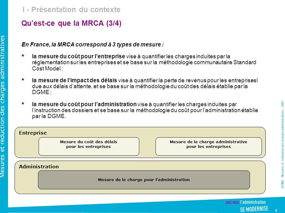 DGME – Mesures et réduction des charges administratives - 2007 Mesures et réduction des charges administratives 8 Quest-ce que la MRCA (3/4) En France, la MRCA correspond à 3 types de mesure : la mesure du coût pour lentreprise vise à quantifier les charges induites par la réglementation sur les entreprises et se base sur la méthodologie communautaire Standard Cost Model ; la mesure de limpact des délais vise à quantifier la perte de revenus pour les entreprisesl due aux délais dattente, et se base sur la méthodologie du coût des délais établie par la DGME ; la mesure du coût pour ladministration vise à quantifier les charges induites par linstruction des dossiers et se base sur la méthodologie du coût pour ladministration établie par la DGME.