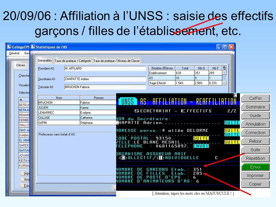 20/09/06 : Affiliation à lUNSS : saisie des effectifs garçons / filles de létablissement, etc.