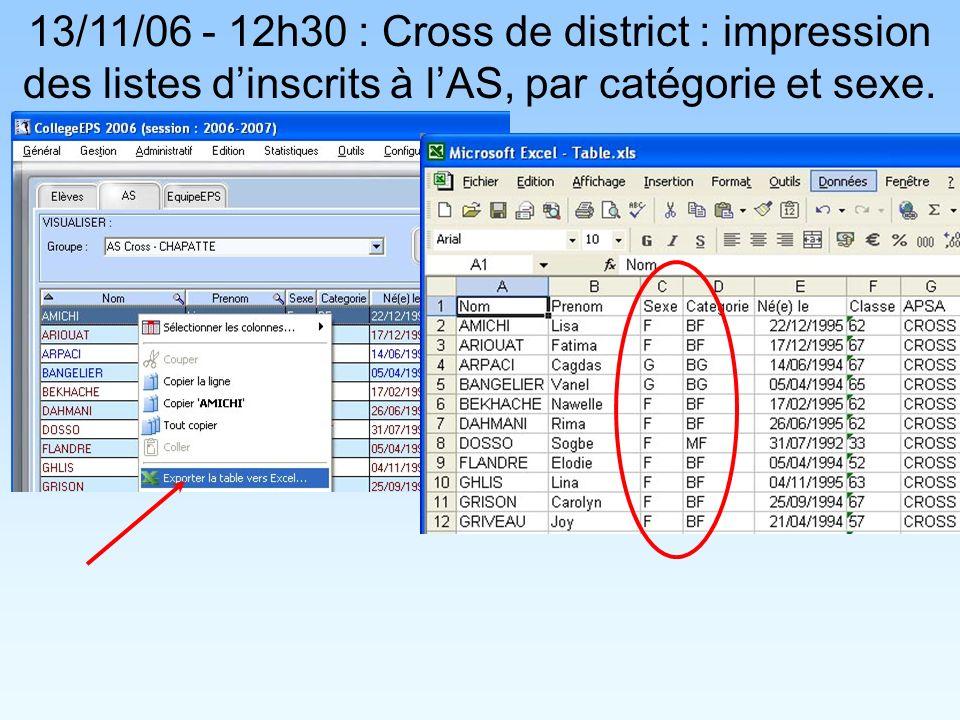 13/11/06 - 12h30 : Cross de district : impression des listes dinscrits à lAS, par catégorie et sexe.