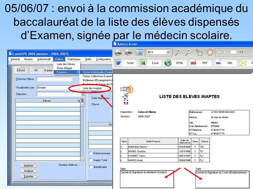 05/06/07 : envoi à la commission académique du baccalauréat de la liste des élèves dispensés dExamen, signée par le médecin scolaire.