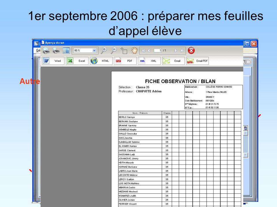 1er septembre 2006 : préparer mes feuilles dappel élève Plus dinfos : Didacticiel VidéoDidacticiel Vidéo Autre méthode :