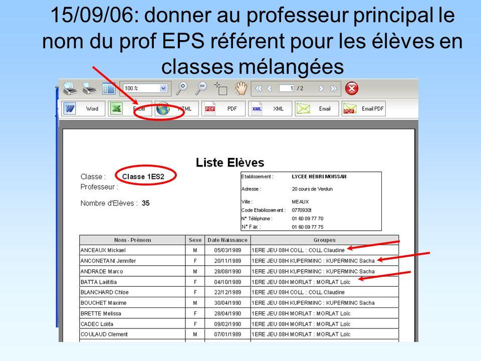 15/09/06: donner au professeur principal le nom du prof EPS référent pour les élèves en classes mélangées