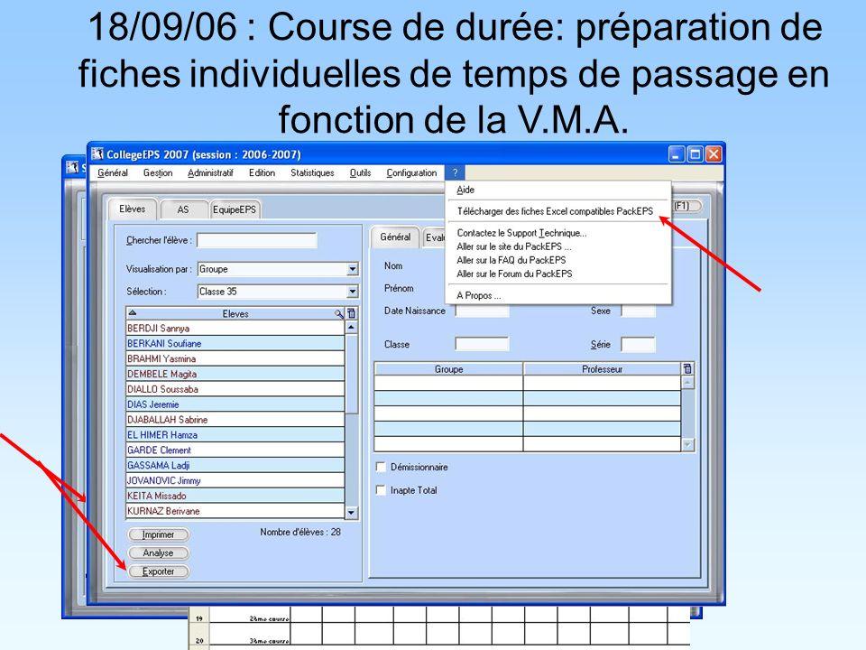 18/09/06 : Course de durée: préparation de fiches individuelles de temps de passage en fonction de la V.M.A.