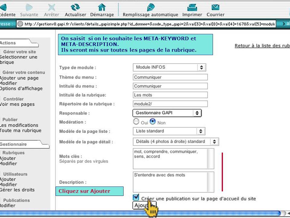 On choisit ensuite la template pour la page DETAIL. Ces templates sont gérées par l administrateur.