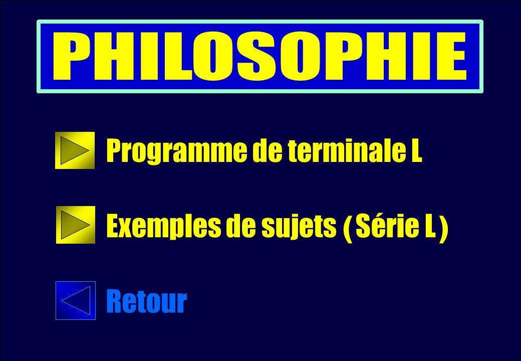 Programme de terminale L Exemples de sujets ( Série L ) Retour