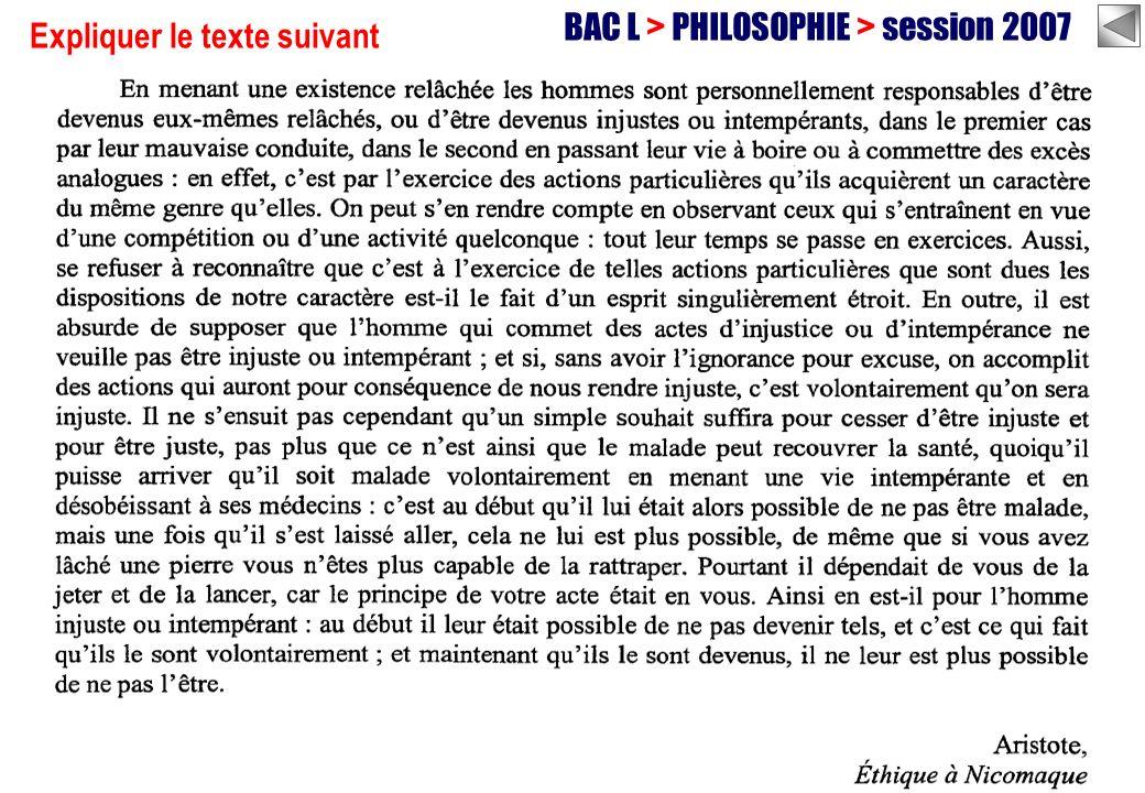 BAC L > PHILOSOPHIE > session 2007 Expliquer le texte suivant