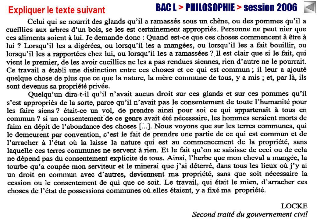 BAC L > PHILOSOPHIE > session 2006 Expliquer le texte suivant
