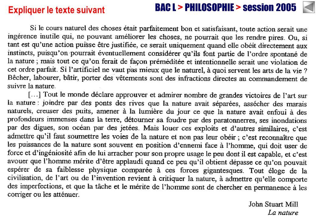 BAC L > PHILOSOPHIE > session 2005 Expliquer le texte suivant