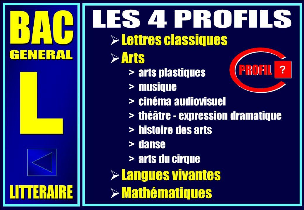 Lettres classiques Arts Langues vivantes Mathématiques > arts plastiques > musique > cinéma audiovisuel > théâtre - expression dramatique > histoire des arts > danse > arts du cirque PROFIL .