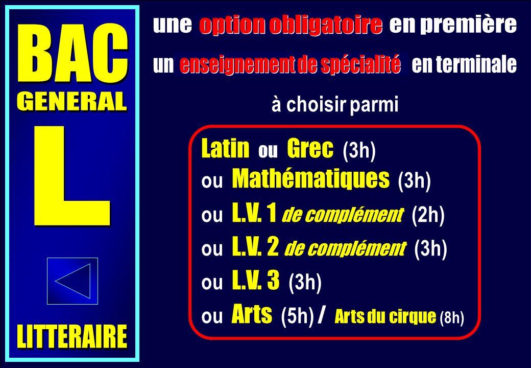 Latin ou Grec (3h) ou Mathématiques (3h) ou L.V.1 de complément (2h) ou L.V.