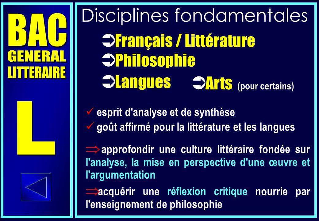 Littérature Philosophie Histoire - géographie Langue vivante 1 Langue vivante 2 E.P.S.
