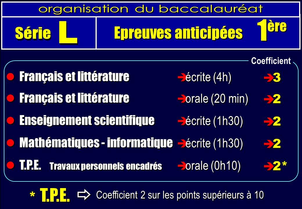 Français et littérature Enseignement scientifique Mathématiques - informatique T.P.E.
