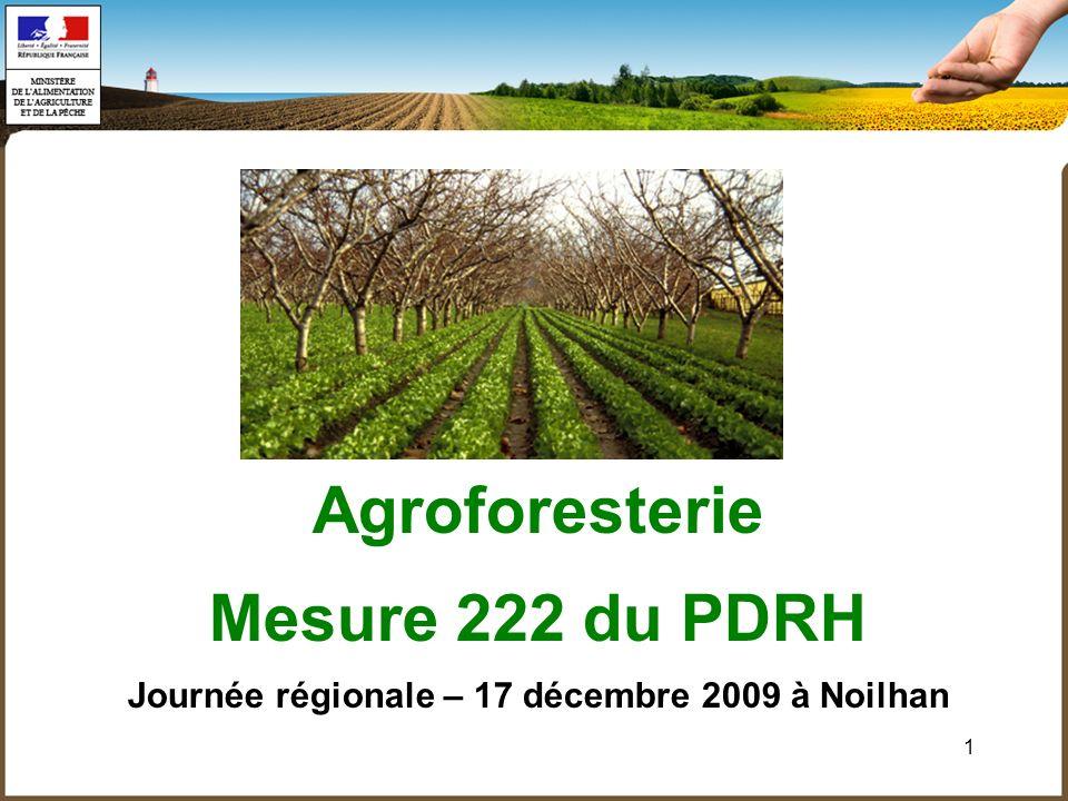 1 Agroforesterie Mesure 222 du PDRH Journée régionale – 17 décembre 2009 à Noilhan