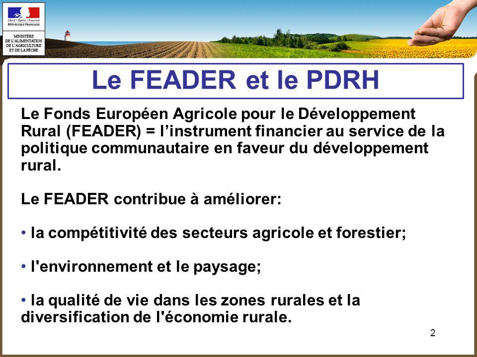 2 Le FEADER et le PDRH Le Fonds Européen Agricole pour le Développement Rural (FEADER) = linstrument financier au service de la politique communautair