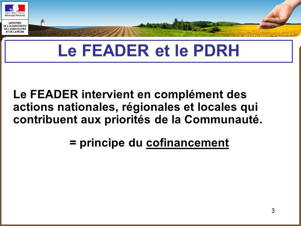 3 Le FEADER et le PDRH Le FEADER intervient en complément des actions nationales, régionales et locales qui contribuent aux priorités de la Communauté